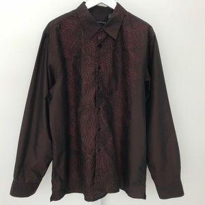 KENNETH COLE BURGUNDY COTTON LONG SLEEVE SHIRT XL